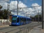 """La rame 2026 Citadis 401 Alstom de la ligne 1 arrive à la station """"Corum"""" par un chemin détourné"""