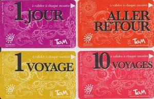 Tickets Christian Lacroix pour le réseau de tramways de Montpellier (avril 2012)