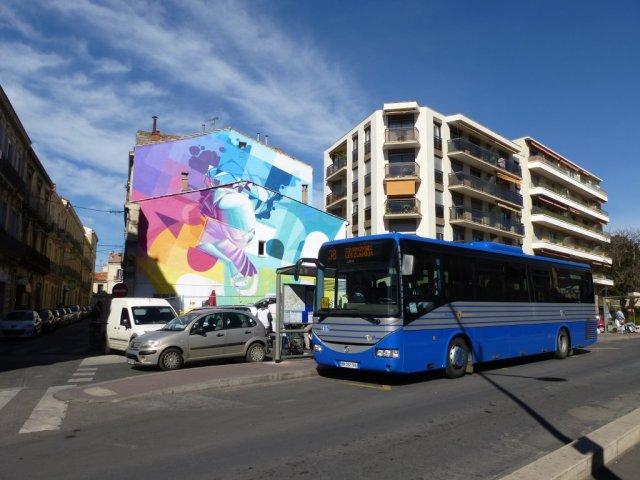 """L'oeuvre du street-artiste Zest se situe derrière l'arrêt """"Rondelet"""" de la ligne suburbaine 38 TaM, à proximité de la station """"Rondelet"""" commune aux lignes 2 et 4 de tramway. Photo prise le vendredi 6 mars 2015. Copyright : Louis Ferdinand"""