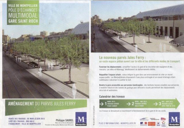 Nouveau parvis de la gare Saint-Roch de Montpellier : le résultat final en images de synthèse. Document : ville de Montpellier