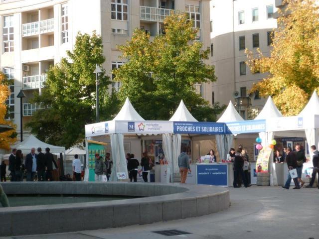 Le stand de TaM Montpellier 3M photographié place de Thessalie à Montpellier, le dimanche 4 octobre 2015, jour de l'Antigone des associations. Copyright : Edouard Paris