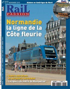 """Couverture du magazine mensuel Rail Passion novembre 2015 au bas de laquelle tout un chacun peut lire : """"La ligne 4 du métro de Montpellier"""""""