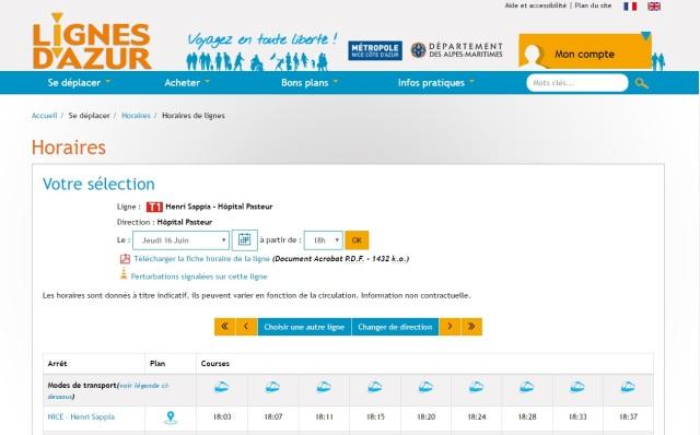 Le bon exemplaire niçois où les clients des Lignes d'Azur ont toujours le choix de consulter les horaires de la façon qu'ils l'entendent. Capture d'écran du site Lignes d'Azur réalisée le jeudi 16 juin 2016.