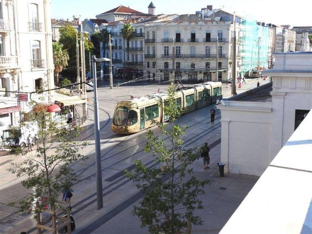 Depuis la mis en service de la ligne 4 de tramway bouclée, le samedi 2 juillet 2016, non seulement les rames circulent avec très peu de monde à bord, mais en plus elles sont régulièrement détournées de leur nouvel itinéraire comme on peut le constater ici, place Auguste-Gibert à Montpellier, où la rame 2033 Citadis 302 Alstom arrive du haut de la rue Jules-Ferry, le lundi 8 août 2016. Copyright : Anje34