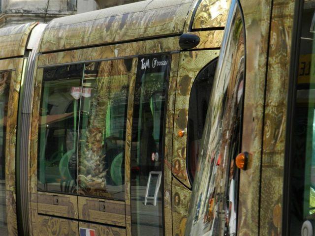 """Boulevard du Jeu-de-Paume à Montpellier, le palmier qui cache la faible fréquentation de la ligne 4 de tramway bouclée entre les stations """"Observatoire"""" et """"Corum"""", dans les deux sens. Photo prise le samedi 10 septembre 2016. Copyright : Anje34"""