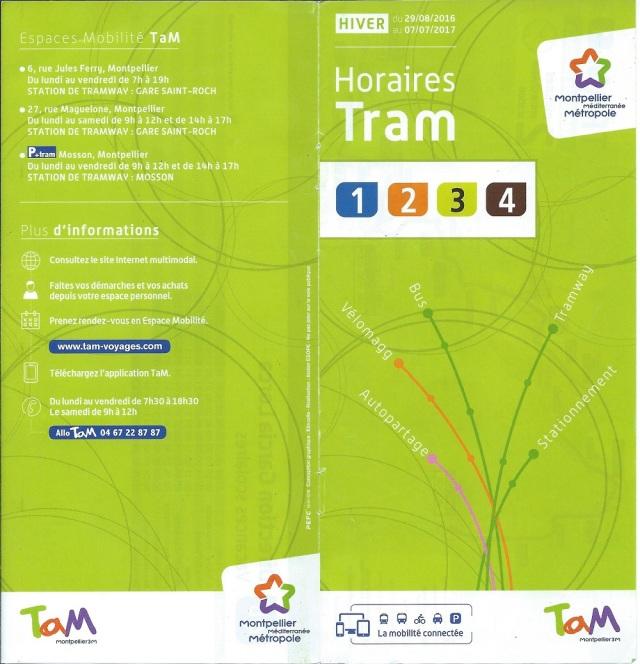 Depuis le lundi 14 avril 2014, TaM ne propose plus les fiches horaires au format pdf, un cas probablement unique en France parmi les sociétés et régies qui exploitent des réseaux de transport en commun. Photo de la double page de couverture des fiches horaires hiver 2016/2017 des quatre lignes de tramway.