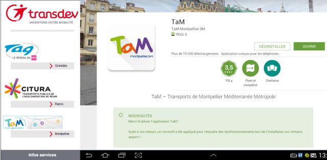 A partir du lien transinfomobile.cityway.fr, le lien tam.mobitrans.fr ne répond plus. Les possesseurs d'un terminal Android ou iOs peuvent télécharger l'application gratuite TaM, s'ils ne l'ont pas encore fait. Montage photo du samedi 15 octobre 2016 signé Edouard Paris