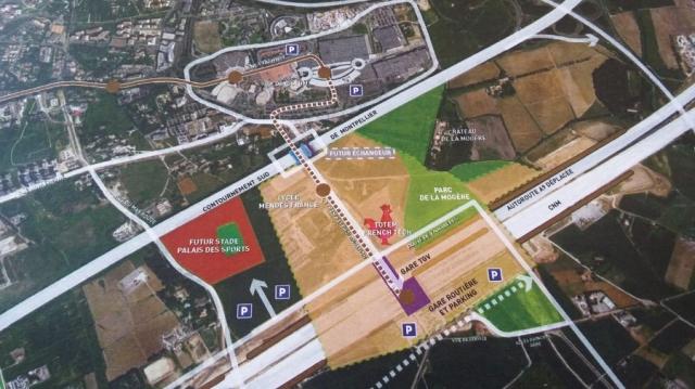 A gauche, l'emplacement du futur stade de football de Montpellier dont l'inauguration est programmée en 2022. Document : Montpellier Méditerranée Métropole (30/11/2016)