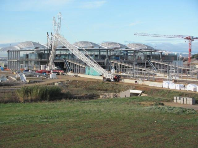 Avancement des travaux de construction de la gare TGV Montpellier Sud de France au samedi 24 décembre 2016. Copyright : Edouard Paris