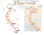 La ligne T1 Tango + de Nîmes. A gauche sa configuration du 29/09/2012 au 18/09/2016, en haut le thermomètre des stations desservies du 18/09/2016 au 02/12/2016, et à droite la nouvelle configuration en service depuis le 03/12/2016. Documents : tangobus.fr