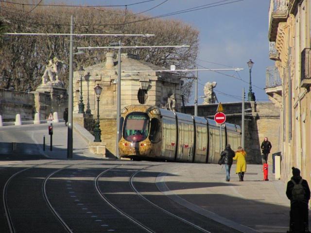 La rame 2044 Citadis 302 Alstom opérant sur la ligne 4 de tramway, dans le sens 4b, est photographiée sur le boulevard du Professeur Louis-Vialleton à Montpellier avant d'amorcer la descente du boulevard Ledru-Rollin, le dimanche 1er janvier 2017. Copyright : Edouard Paris