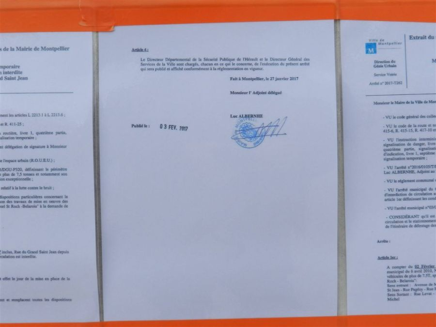 Page 2 d'un premier arrêté signé le vendredi 27 janvier 2017, photographiée le jeudi 9 février 2017. Copyright : Anje34