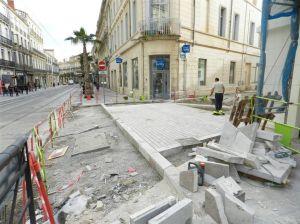 Boulevard du Jeu-de-Paume à Montpellier, travaux d'embellissement à la hauteur de la rue Marceau, le jeudi 9 février 2017. Copyright : Anje34