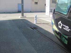 """Au terminus """"Lattes Centre"""" de la ligne 3, en temps normal les rames s'arrêtent à au moins cinq mètres du bout de la voie. Photo prise le samedi 18 février 2017. Copyright : Edouard Paris"""