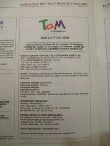 Avis d'attribution du marché publié dans La Gazette de Montpellier du jeudi 23 février au mercredi 1er mars 2017