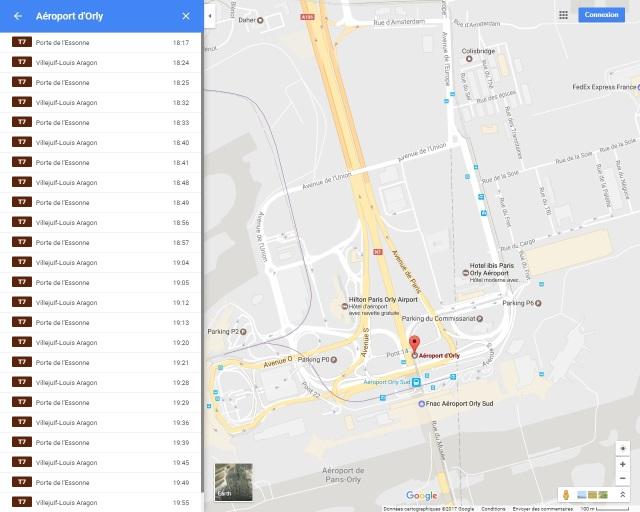 """Après les bus et le métro, les Franciliens peuvent consulter les horaires des stations de tramway de Paris et d'Île-de-France. Capture d'écran Google Maps présentant les horaires de la station """"Aéroport d'Orly"""" du T7, le samedi 11 mars 2017 à 18h15"""